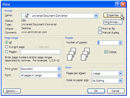 select universal document converter from the printers list and press properties button