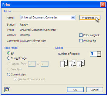 select universal document converter from the printers list and press properties button - Convert To Visio