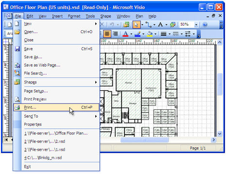 open the drawing in microsoft visio and press file print in application - Visio Open